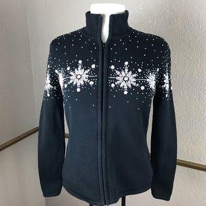 Talbots black zip sweater & snowflake embroidery